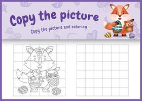copie o jogo de crianças de imagem e página para colorir com tema de Páscoa com uma raposa fofa segurando o ovo de balde e o ovo de Páscoa vetor