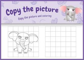 copie o jogo de crianças e a página para colorir com uma ilustração de um elefante fofo vetor