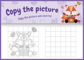 copie o jogo de crianças de imagem e página para colorir com tema de páscoa com uma raposa fofa e um ovo de balde vetor