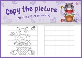 copie o jogo de imagens para crianças e a página para colorir com o tema da Páscoa com um hipopótamo fofo e um ovo de balde vetor