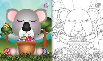 livro de colorir para crianças com tema feliz dia de Páscoa com ilustração de um lindo coala no ovo balde vetor
