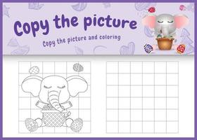 copie o jogo de crianças de imagem e página para colorir com tema de Páscoa com um elefante fofo e um ovo de balde vetor