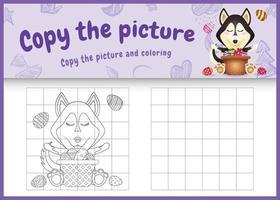 copie a imagem do jogo infantil e a página para colorir com o tema da Páscoa com um cachorro husky fofo e um ovo de balde vetor