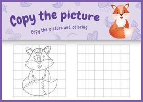 copie o jogo de imagem para crianças e a página para colorir com uma ilustração do personagem de raposa fofa vetor