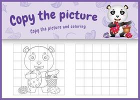 copie o jogo de crianças de imagem e página para colorir com tema de Páscoa com um panda fofo segurando o ovo de balde e o ovo de Páscoa vetor