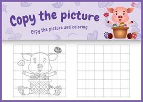 copie o jogo de imagens para crianças e a página para colorir com o tema da Páscoa com um porco fofo e um ovo de balde vetor