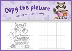 copie o jogo de crianças de imagem e página para colorir com tema de Páscoa com um guaxinim fofo segurando o ovo de balde vetor