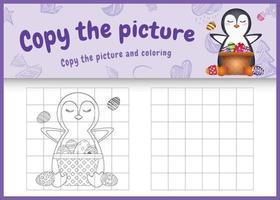 copie o jogo de imagem para crianças e a página para colorir com o tema Páscoa com um pinguim fofo e um ovo de balde vetor