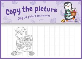 copie o jogo de crianças de imagem e página para colorir com tema de Páscoa com um pinguim fofo segurando o ovo de balde e o ovo de Páscoa vetor