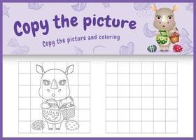 copie a imagem do jogo para crianças e colorir página com o tema da Páscoa com um rinoceronte bonito segurando o ovo de balde e o ovo de Páscoa vetor