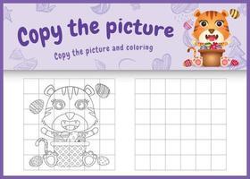 copie o jogo de imagens para crianças e a página para colorir com o tema da Páscoa com um tigre fofo e ovo balde vetor