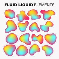 conjunto de vetores de forma fluida. líquido gradiente com cores neon