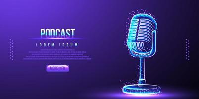 podcast, microfone. design de wireframe de baixo poli vetor