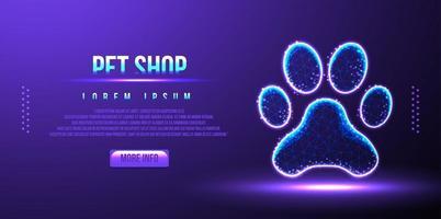 pet shop, pata, wireframe abstrato de poli baixa, ilustração vetorial vetor