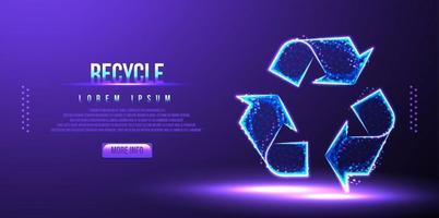 reciclar, renovar, wireframe de baixo poli, ilustração vetorial vetor