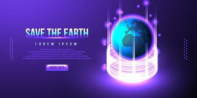 terra, design futurista do globo, wireframe de baixo poli, ilustração vetorial vetor