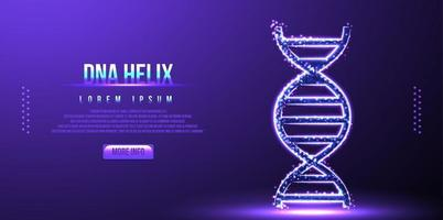 DNA, molécula de hélice, wireframe de baixo poli, ilustração vetorial vetor