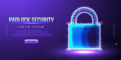 bloqueio, cadeado de segurança contra crimes cibernéticos, design de wireframe de poliéster baixo vetor