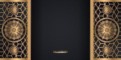 Fundo de estilo flor de mandala decorativo preto e dourado vetor