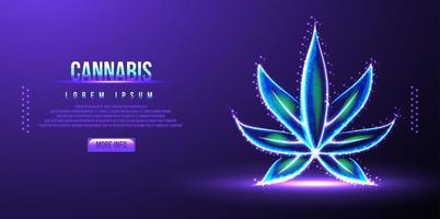 ilustração em vetor wireframe de baixo poli cannabis