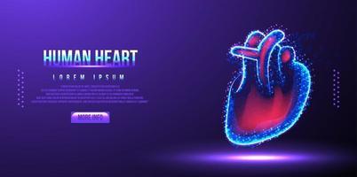 ilustração em vetor wireframe de baixo poli de coração humano