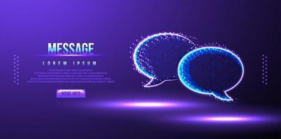 mensagem, bolha de discurso ilustração vetorial de wireframe de baixo poli vetor