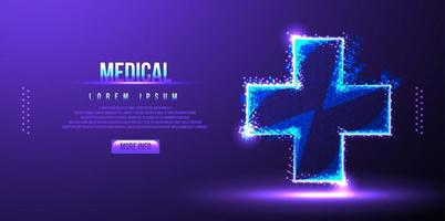 ilustração vetorial wireframe cross medical low poly vetor