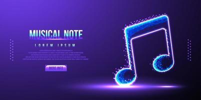 nota musical, ilustração vetorial de malha de wireframe de poli baixo instrumento vetor