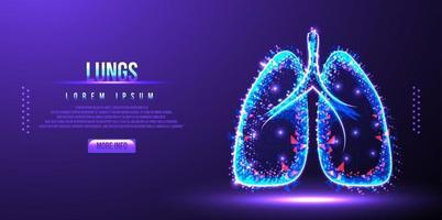 ilustração em vetor wireframe de baixo poli de pulmão humano