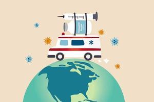 distribuição da vacina covid-19 em todo o mundo vetor
