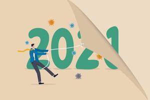 ano mudando para 2021 a partir de 2020 durante o surto de coronavírus vetor