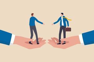 empresários em pé sobre mãos enormes prestes a apertar as mãos para um acordo comercial vetor