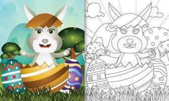 livro de colorir para crianças com tema feliz dia de páscoa com ilustração de personagem de um coelhinho fofo no ovo vetor
