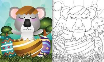 livro de colorir para crianças com tema feliz dia de Páscoa com ilustração de um lindo coala no ovo vetor