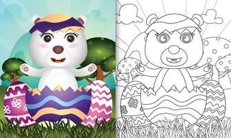 livro de colorir para crianças com o tema feliz dia de Páscoa com ilustração de um urso polar fofo no ovo vetor