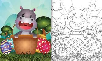 livro de colorir para crianças com tema feliz dia de Páscoa com ilustração de um hipopótamo fofo no ovo balde vetor