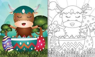 livro de colorir para crianças com tema feliz dia de páscoa com ilustração de um búfalo fofo no ovo vetor