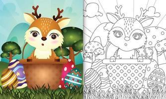 livro de colorir para crianças com tema feliz dia de Páscoa com ilustração de um cervo fofo no ovo balde vetor