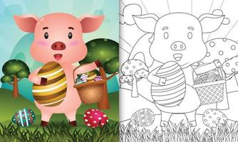 livro de colorir para crianças com tema feliz dia de páscoa com ilustração de personagem de um porco fofo segurando o ovo de balde e o ovo de páscoa vetor