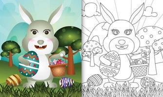livro de colorir para crianças com tema feliz dia de páscoa com ilustração de um coelho fofo segurando o ovo de balde e o ovo de páscoa vetor