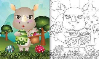 livro de colorir para crianças com tema feliz dia de páscoa com ilustração de um rinoceronte fofo segurando o ovo de balde e o ovo de páscoa vetor