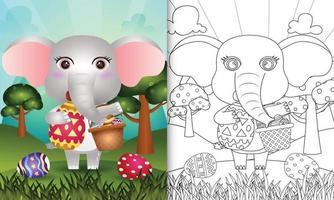 livro de colorir para crianças com tema feliz dia de páscoa com ilustração de um elefante fofo segurando o ovo de balde e o ovo de páscoa vetor