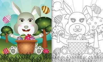 livro de colorir para crianças com tema feliz dia de Páscoa com ilustração de um coelho fofo no ovo balde vetor