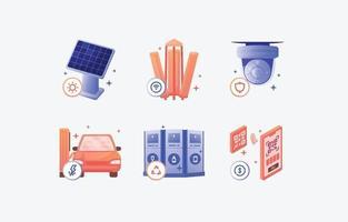 conjunto de ícones de tecnologia de cidade inteligente vetor