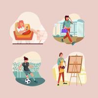 conjunto de ícones de rotina diária de mulheres independentes vetor