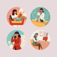 Conjunto de ícones de avatar de mulher de profissão vetor