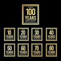 100 anos de aniversário de ouro quadrado cenografia logotipo modelo ilustração vetorial vetor