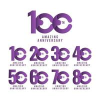 100º incrível aniversário celebração vector template design ilustração logo icon