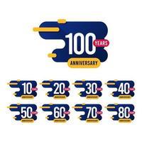 Ilustração de design de modelo de vetor azul amarelo aniversário de 100 anos