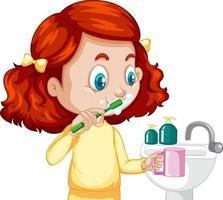uma personagem de desenho animado de menina escovando os dentes com a pia vetor